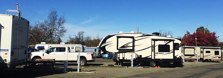 RV Camping in California. Here's our rig parked at the Tradewinds RV Park