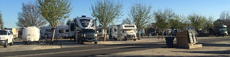 Review of A Country RV Park, Bakersfield, California. Each row of rigs is separated by a wide road at A Country RV Park, Bakersfield, California