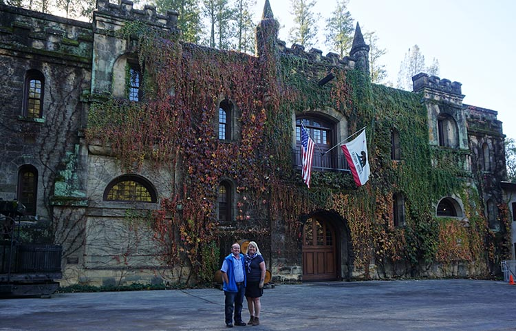 Winery Tours in Calistoga, Napa Valley, California. Someone kindly took a photo of us outside the Chateau Montelena