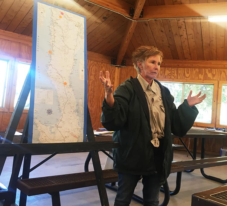 RV Baja California. Wagon Master Becky explaining our route at the group meeting in the pavilion at Potrero County RV Park