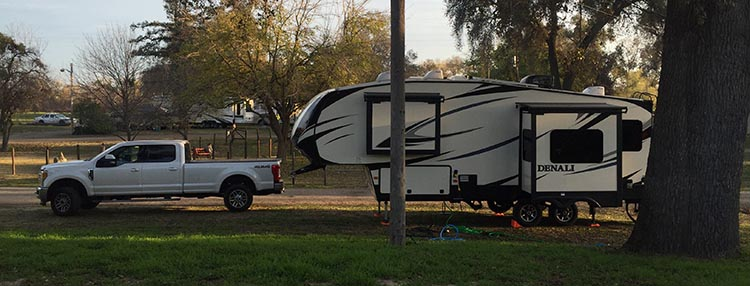 RV Camping in California. Our rig parked in the overflow parking at Merced River RV Resort