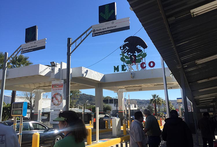 RV Baja California. The Tecate Border Crossing into Baja California, Mexico