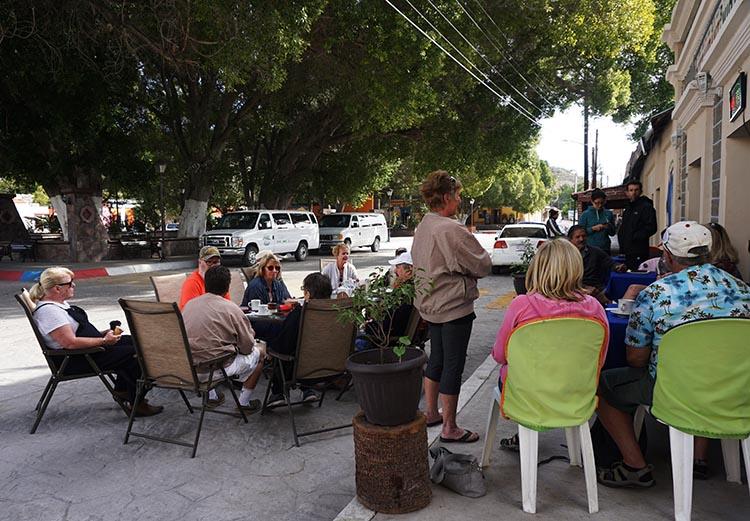 Day 5 of our RV Trip with Baja Winters: San Ignacio to Santispac Beach, Bahía de Concepción, Baja California Sur, Mexico. Here is our group enjoying a restaurant in the village of San Ignacio