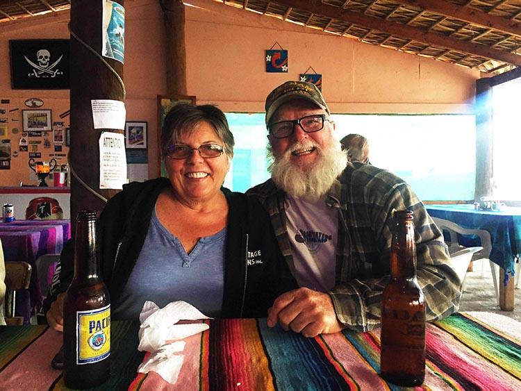 Day 5 of our RV Trip with Baja Winters: San Ignacio to Santispac Beach, Bahía de Concepción, Baja California Sur, Mexico. Fellow travelers Kathy and Joe in Armando's Restaurant on Santispac Beach