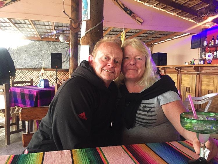 Day 5 of our RV Trip with Baja Winters: San Ignacio to Santispac Beach, Bahía de Concepción, Baja California Sur, Mexico. Maggie and I in Armando's Restaurant on Santispac Beach