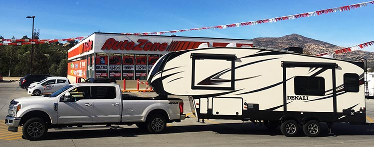 RV Baja California. Our Denali fifth wheel stuck on the banners at the Auto Zone in Tecate