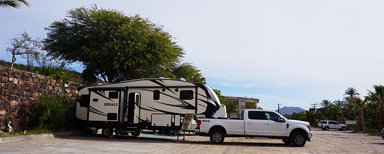 This is our truck and Denali fifth wheel parked at the Rice and Beans RV Park in San Ignacio