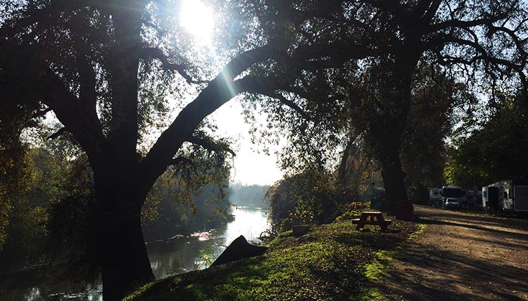 RV Camping in California. There is a lovely river in the Merced River RV Resort, where you can swim in the summer, and fish as well