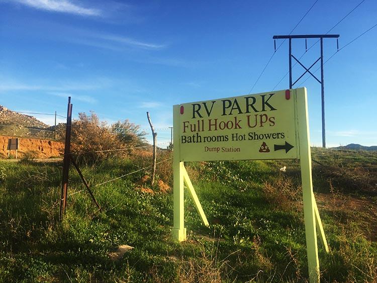 RV Baja California. The sign post outside the Sordo Mudo RV Park, Baja California, Mexico