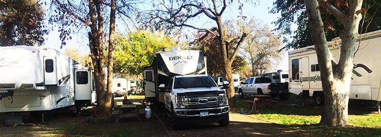 Review of Merced River RV Resort, Delhi, California. Our truck and rig in the Merced River RV Resort