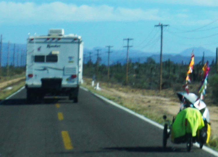A woman we saw riding a recumbent bicycle near the border between the states of Baja California and Baja California Sur