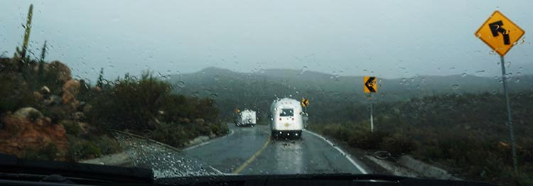 The day after we had our truck and rig washed, we drove through a torrential downpour on Highway 1 in Baja California