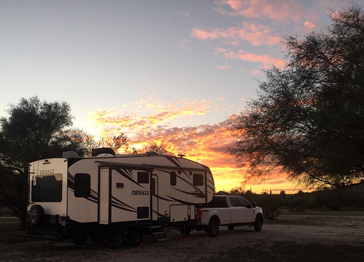 Sunset over our rig at Rancho Santa Inez Campground in Catavina