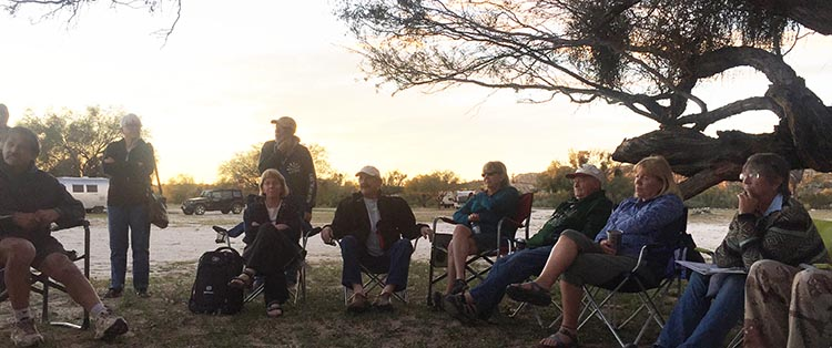 Our group at the sunset meeting at Rancho Santa Inez Campground in Catavina
