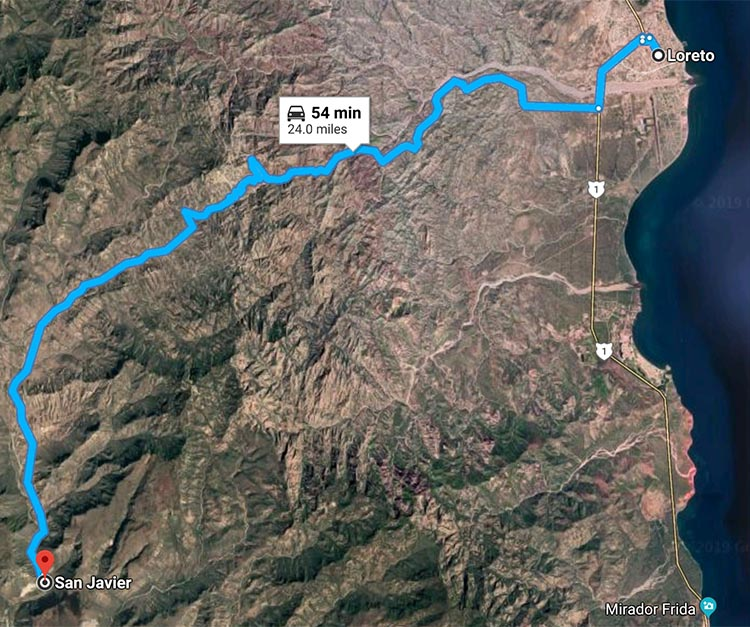 Map of the route from Loreto to San Javier