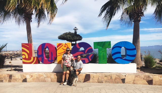 Nancy, Richard and Wylie on the Malecon in Loreto - Photo supplied by Nancy Bacciarini