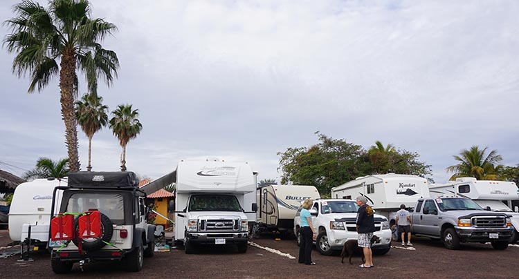 Some of the group's rigs parked at Rivera Del Mar Trailer RV Park. Left to right, that's Joe's jeep, someone else's Class C, Tom and Shawnas rig, and then Richard and Nancy's rig