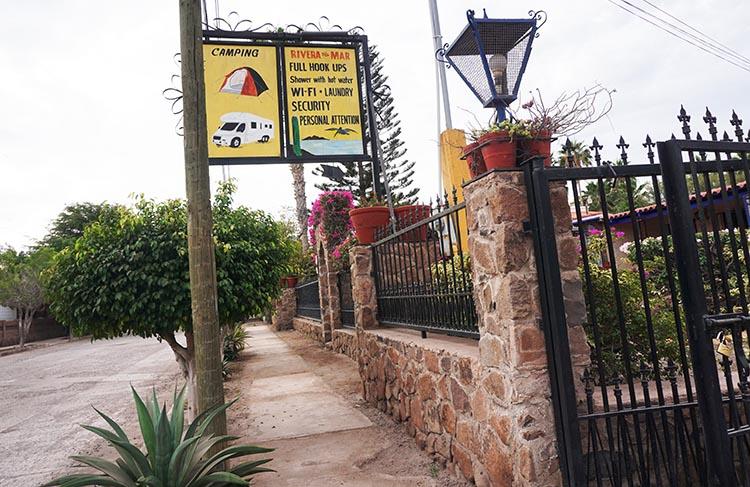The entrance to the Rivera Del Mar Trailer RV Park in Loreto