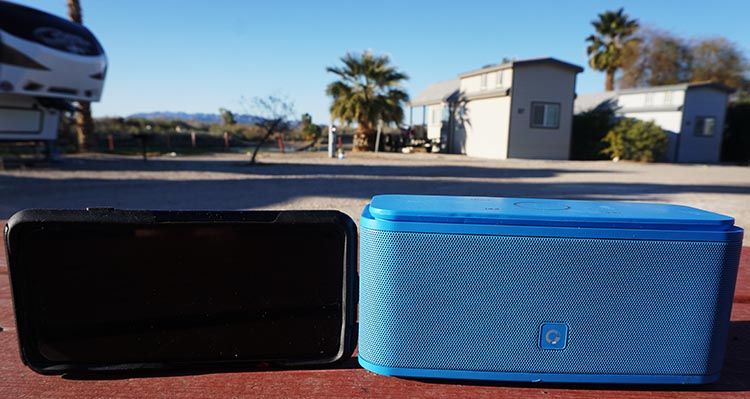 Simple RV Upgrades: Budget DOSS Soundbox Bluetooth Speaker. We often take our DOSS Soundbox speaker with us when we are sitting outside our RV. This photo shows the size of the speaker relative to an iPhone 6