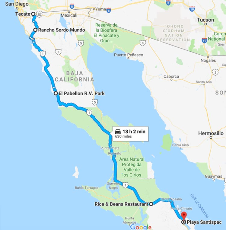 Map showing our route from Tecate to Santispac Beach, Baja California Sur