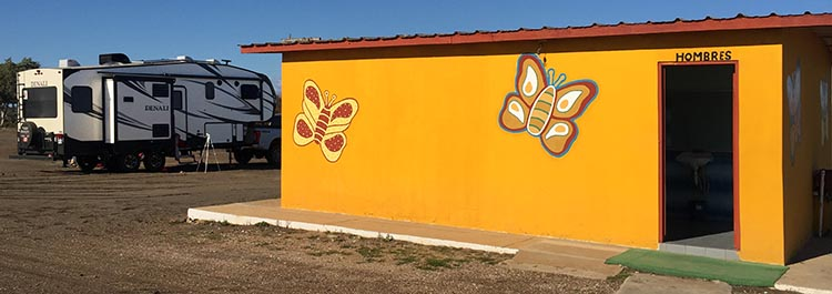 We were parked near the brightly colored washrooms. The showers here are actually fairly decent - but salty