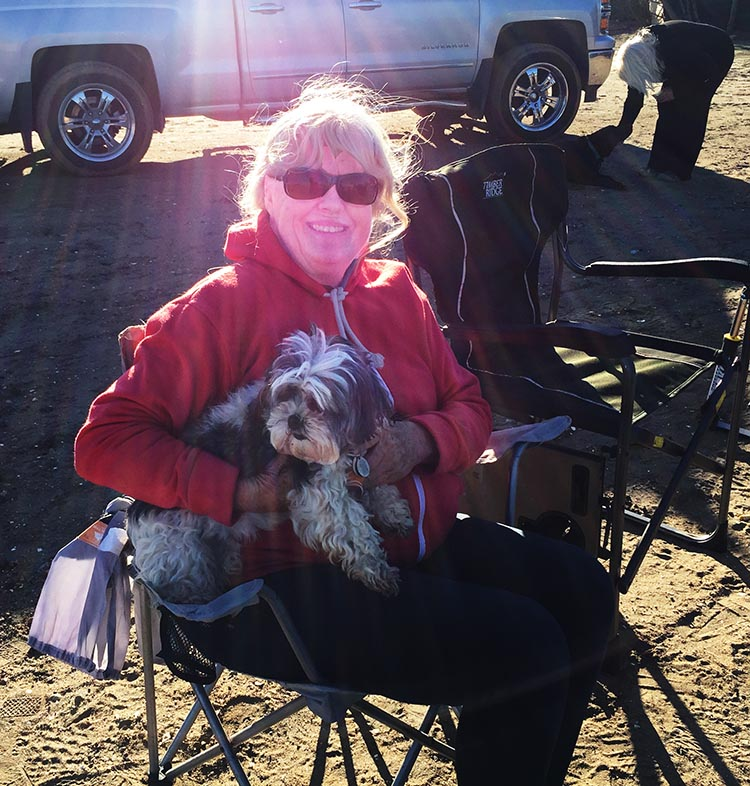 Kathy with Ripley at the clam bake