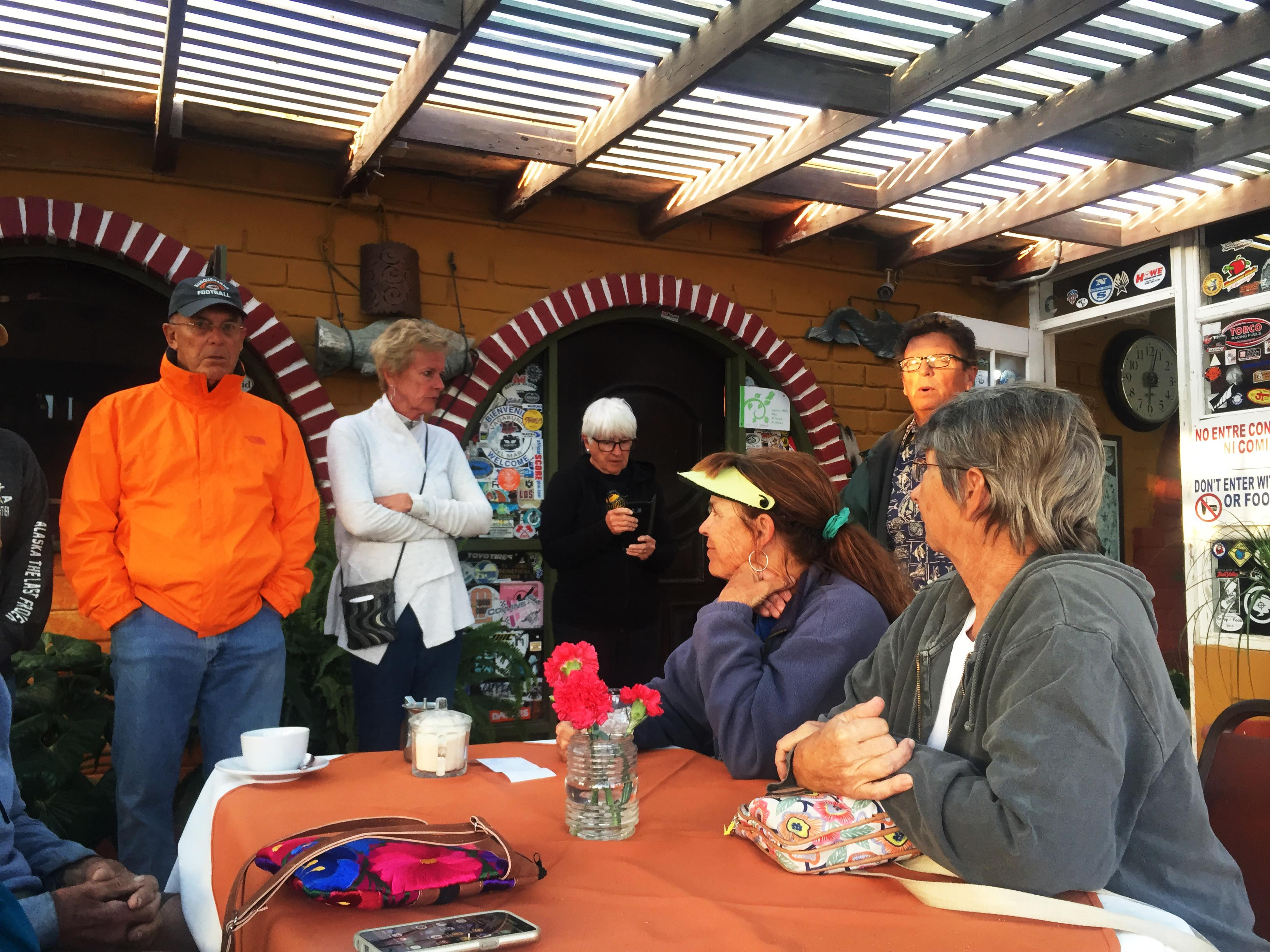 Some of the group at the patio restaurant at Malarrimo RV Park. Left to right are Bill, Karen, Myrna, Nancy, John, and Alison