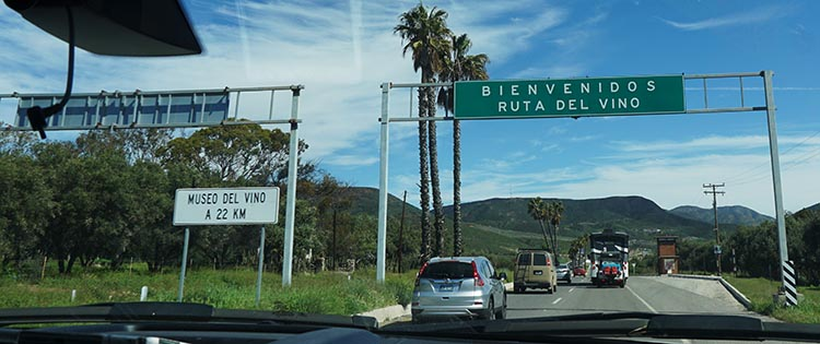 Our Return RV Caravan Trip from Baja California: Santispac Beach to Tecate. About 20 miles before the Sordo Mudo RV Park is a sign we really liked: Welcome to the Wine Route!