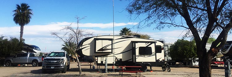 Here is our Denali parked on our site at the Arizona Oasis RV Resort