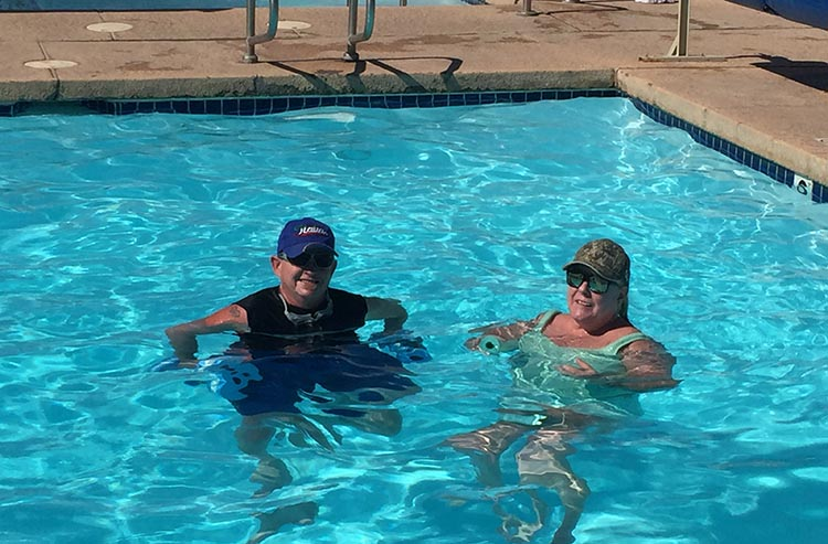 Joe and I enjoying the lovely pool at Arizona Oasis RV Resort