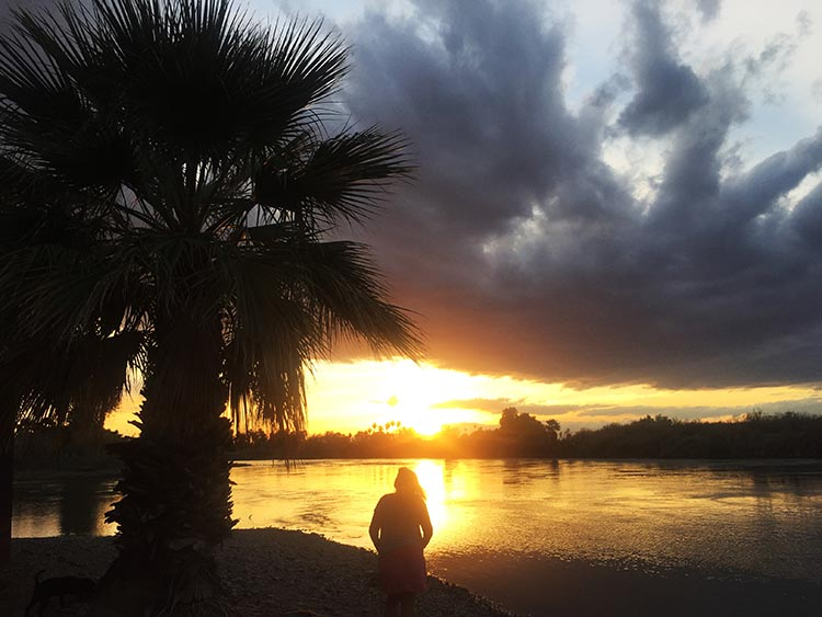 Admiring a sunset over the Colorado River at Arizona Oasis RV Resort