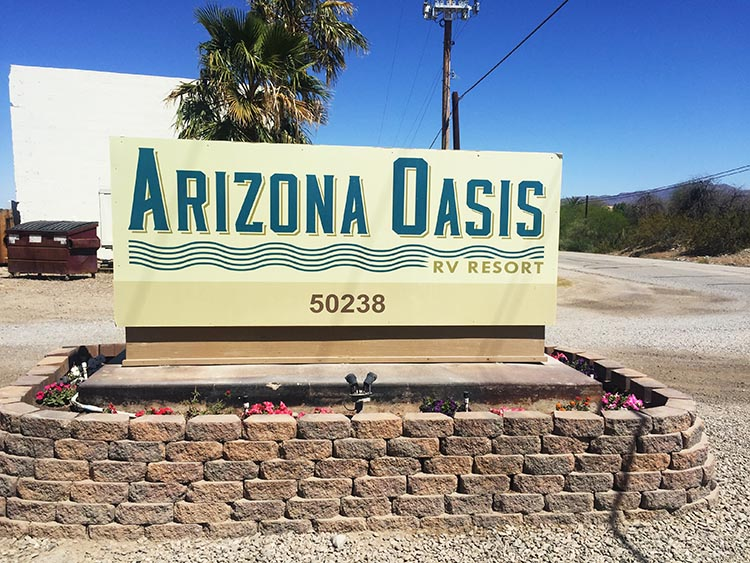 This is the sign at the entrance to Arizona Oasis RV resort