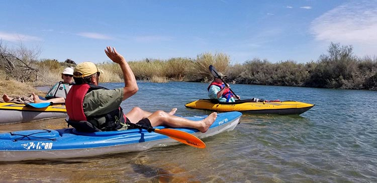 Intex Challenger K1 Inflatable Kayak vs Advanced Elements Inflatable Lagoon Kayak. This is our friend Rick in one of the hardshell kayaks we tried - not comfy