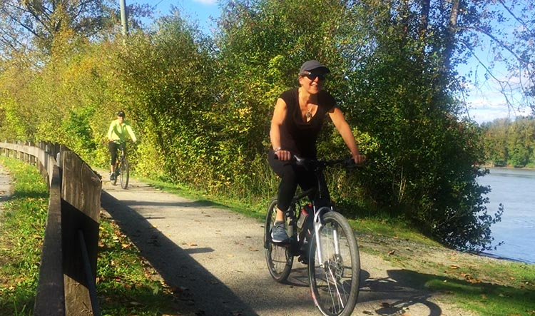 Friends Calli and Zee on the Fort to Fort Trail, Fort Langley - a great bike ride!
