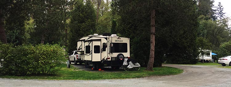 This is our spot in Fort Camping RV park in Fort Langley