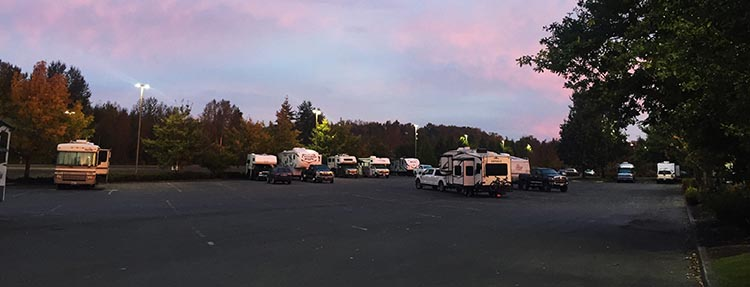 Here we are parked at Tulalip Casino, just north of Seattle. Every time we have stopped there, there has been plenty of space in the RV parking lot at the back. It is a bit hard to find, but basically, just try to get behind the casino, then look for the other RVs