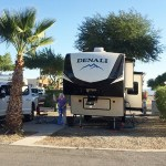 Here is our fifth wheel, just after we parked it at Rio Bend RV and Golf Resort.