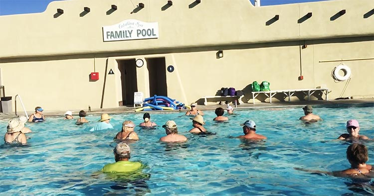 How to Become a Workamper – a Complete Guide to Work Camping. Some workampers lead social activities such as Aquafit. This was the excellent Aquafit class led by Dyan at Catalina Spa RV Resort