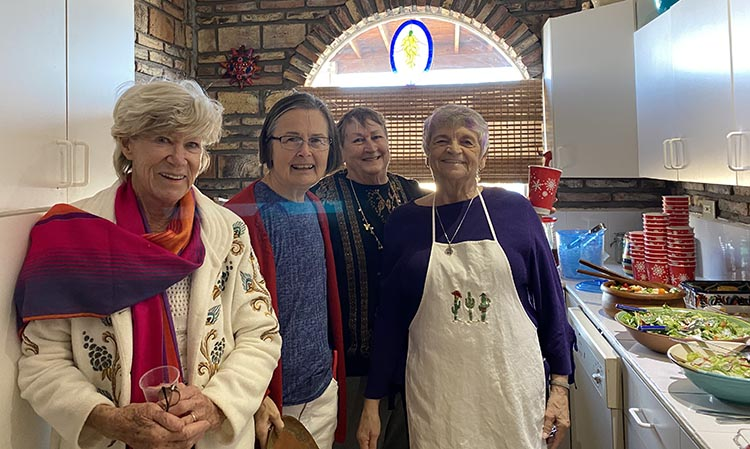 Some of our friends in the kitchen at the Christmas potluck lunch at Danita's house on El Dorado Ranch