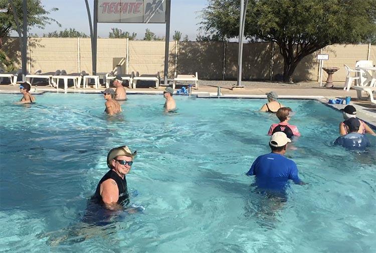 Here is Joe enjoying the aquafit class at El Dorado Ranch