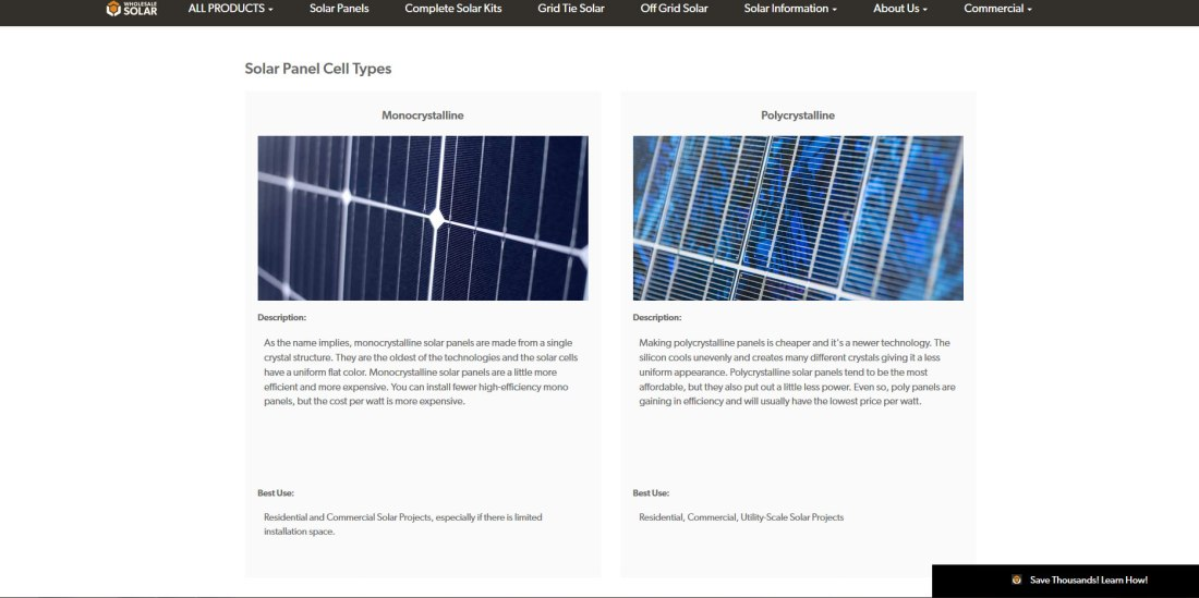 "Solar panel cell types on a page that has SEO for ""solar panels"""