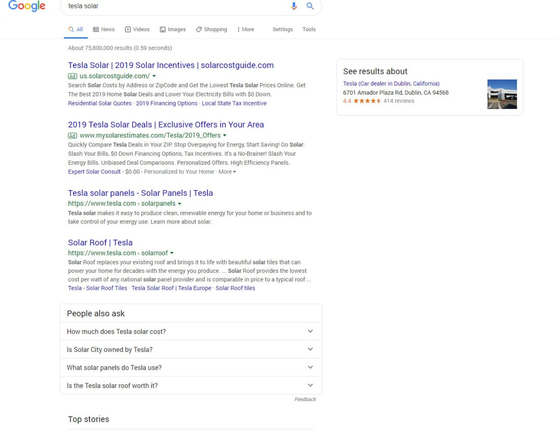 Google search results for Tesla Solar, showing their branded search presence