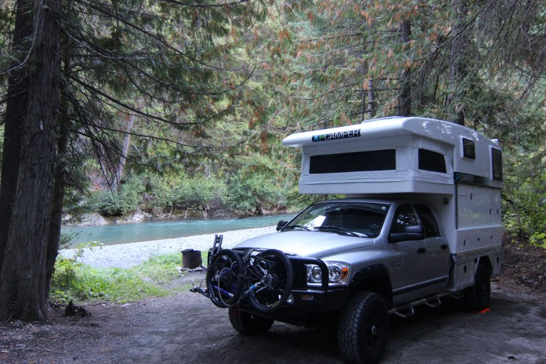 Free camping on Roger Creek BC Recreational Area on Highway 99.