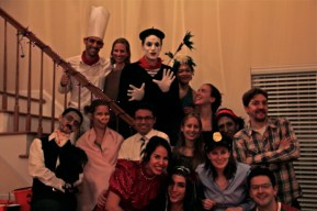 Ned, Nancy, Checho, Bess, Callie and the costume-clad guests