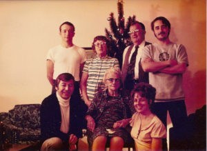 Christmas: John, Mom, Dad, Joe -- Buzz, Grandma Jo, Joyce