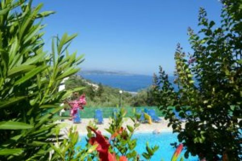 Villa Andonis -- Pool area and sea with Albania in the background.