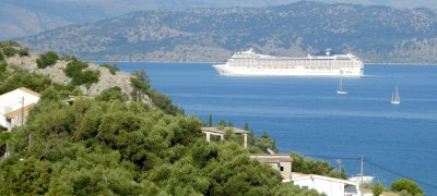 Cruise ship sailing between Corfu and Albania