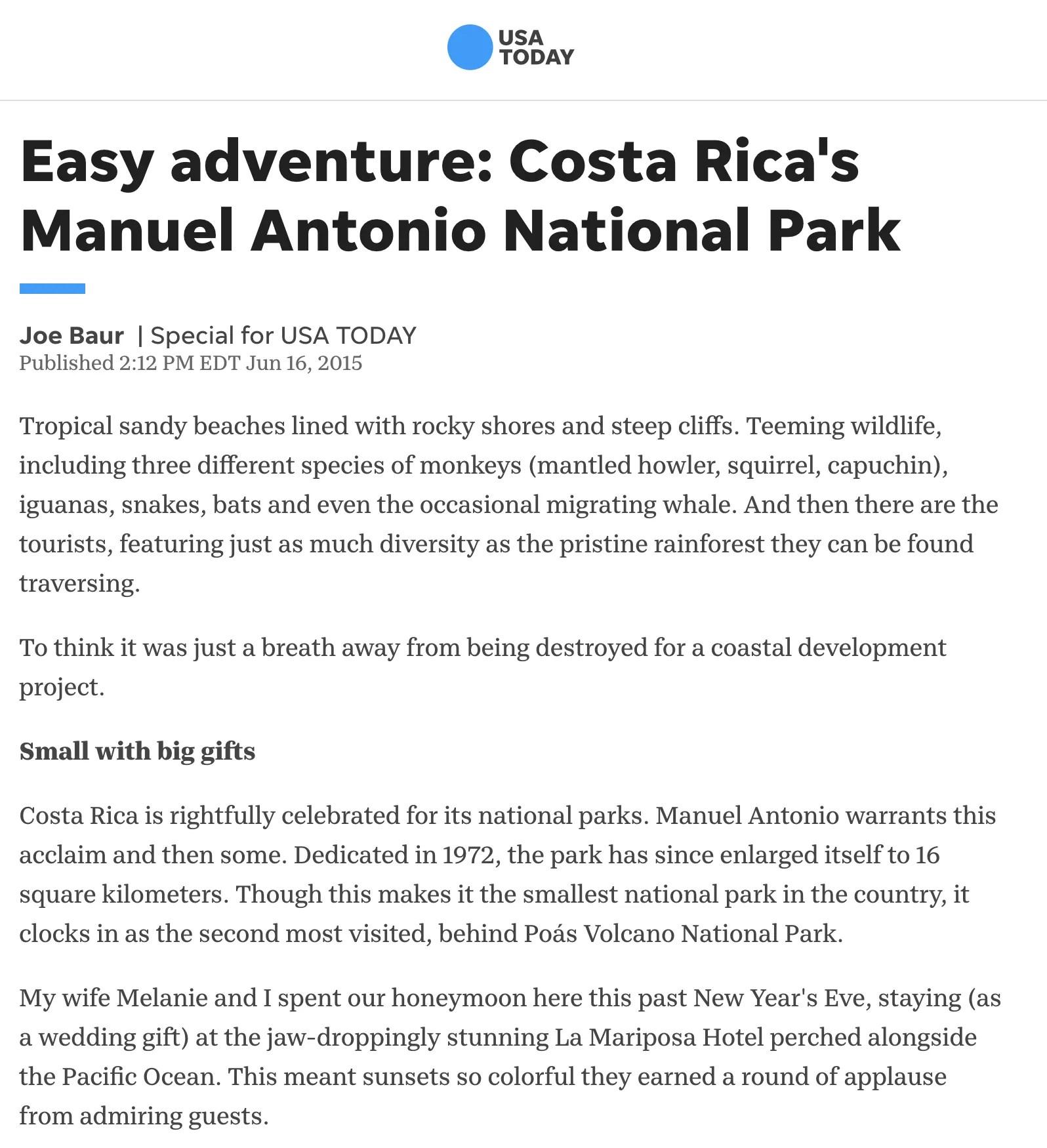 Easy adventure | Costa Rica's Manuel Antonio National Park - USA Today
