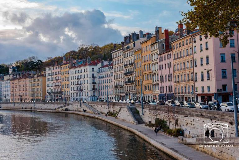 Building on the bank of the Stone River in Lyon