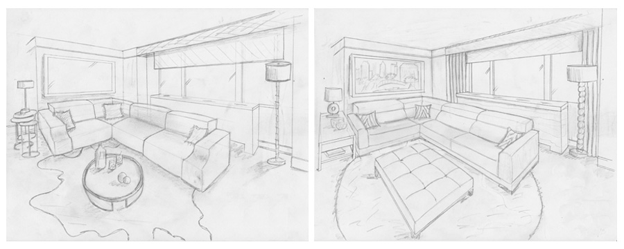 Interior Design New York NYC Joe Cangelosi UWS 1 Bedroom Living Room Sketches